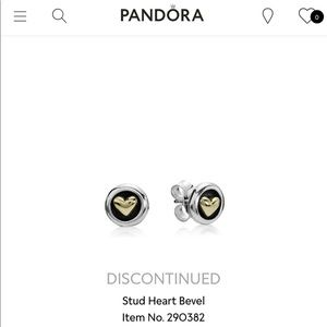 RARE Pandora Two Tone 14K Heart Stud Earrings